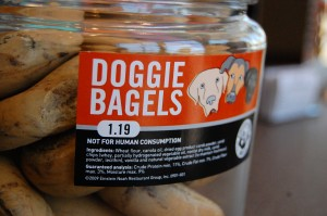 Einstein Bros. is a big fan of our four-legged family members. There will be a water dish for dogs near the outdoor seating -- and of course, doggie bagels for sale. (Photo by Laura Weisskopf Bleill)
