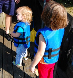 My little sailors, getting ready to board the paddle boat at Crystal Lake Park.