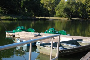 The dock with the paddle boats and rowboats at Crystal Lake in Urbana. (Photos by Laura Weisskopf Bleill)