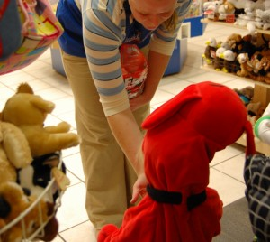 Clifford trick-or-treating at the mall during the Halloween Funfest in 2008. (Photo by Laura Weisskopf Bleill)