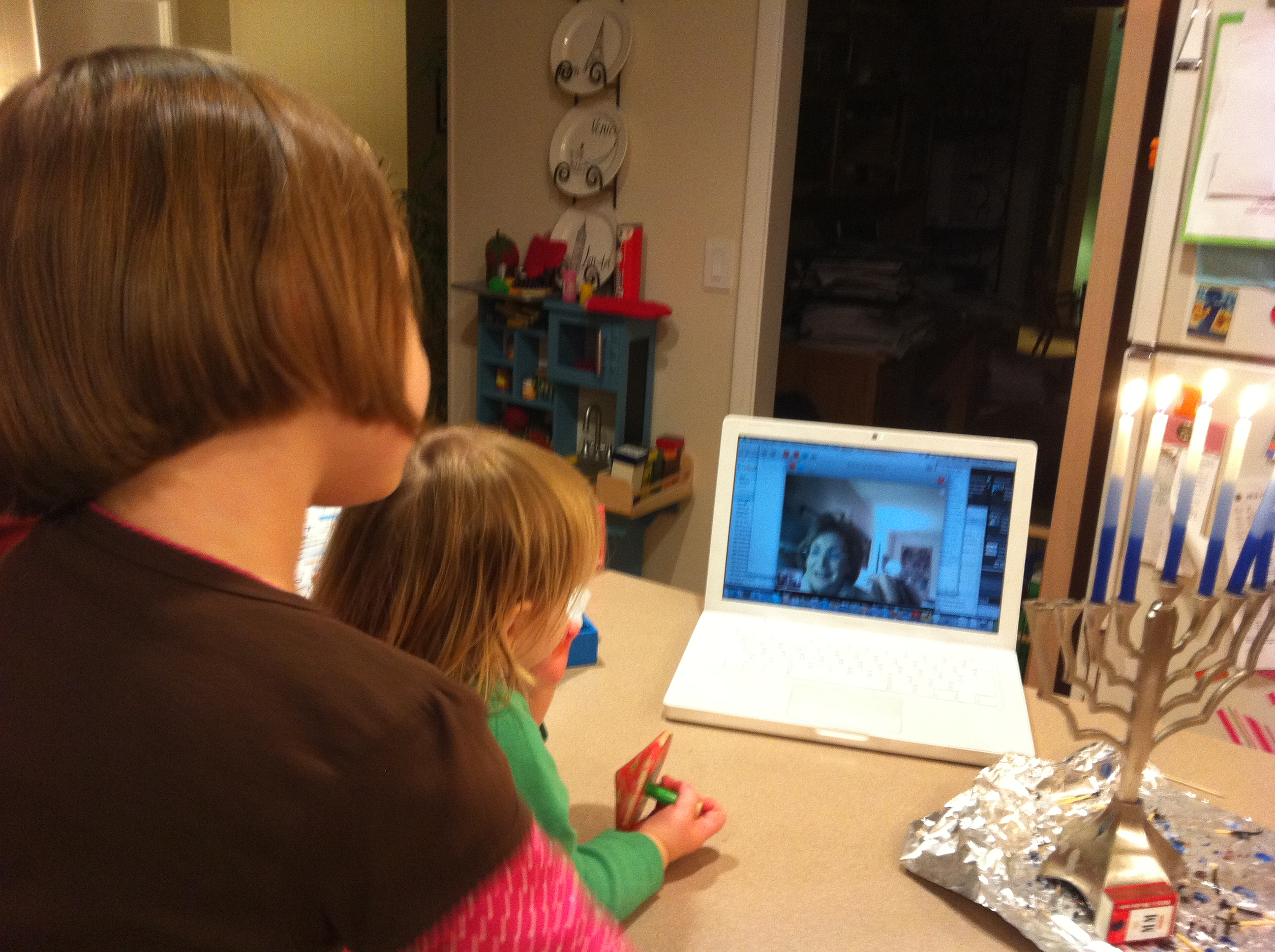 Skyping with the grandparents: a new Chanukah tradition. Photo by Laura Weisskopf Bleill