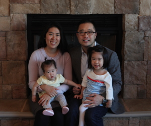Kevin Kim, owner of Mathnasium of Champaign, with his wife and two daughters.