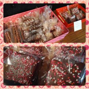 Dipped pretzels, twinkies, homemade marshmallow, and caramel crispies all say love from Black & White Confections.