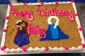 Anna and Elsa were featured on Finley's 4th Birthday Cookie Cake from The Cookie Jar.