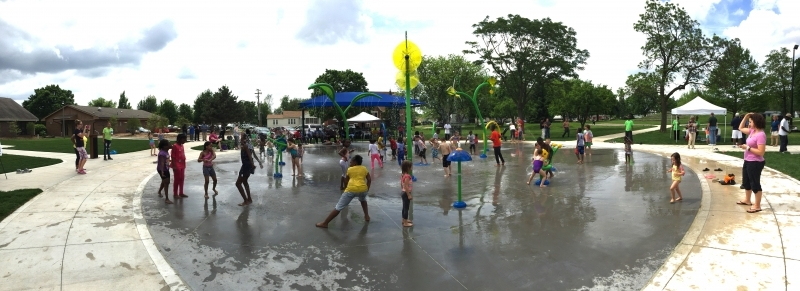 The Douglass Park splash pad was a hit with our Chambana mom. Photo: Champaign Park District