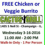 Cactus Grill Offers Free Burritos on March 16