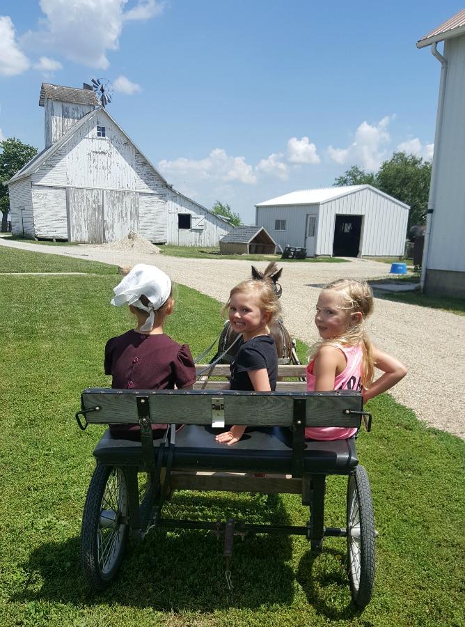 Children share a friendly wagon ride in Amish Arthur IL near Champaign-Urbana on Chambanamoms.com