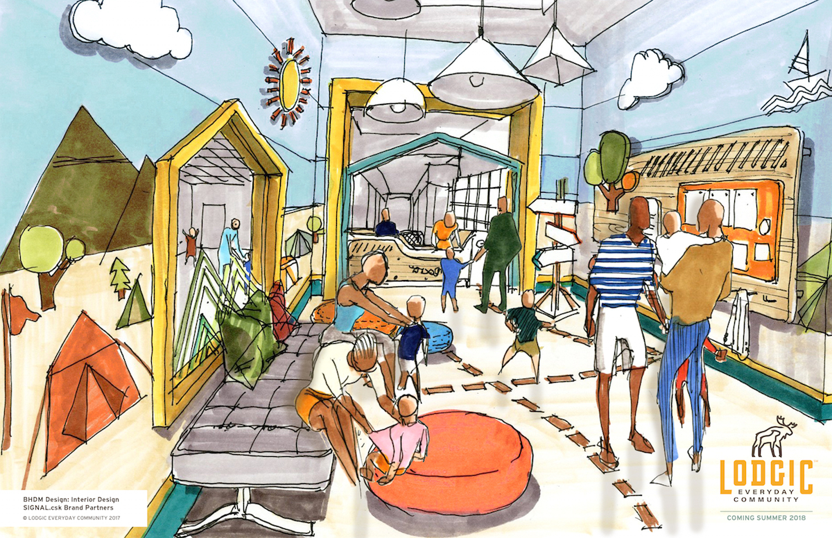 An artist's rendering of the childcare area at the new Lodgic Everyday Community coming to Champaign in 2018.
