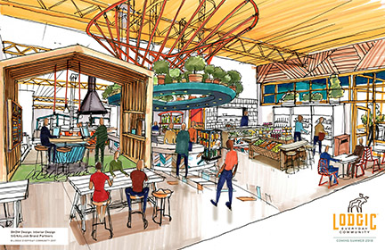 An artist's rendering of the food service area at the new Lodgic Everyday Community coming to Champaign in 2018.