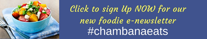 sign up today for our e newsletter that's all about food in Champaign-Urbana. Chambanaeats