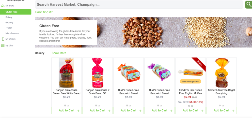 Place your grocery order online at area grocers