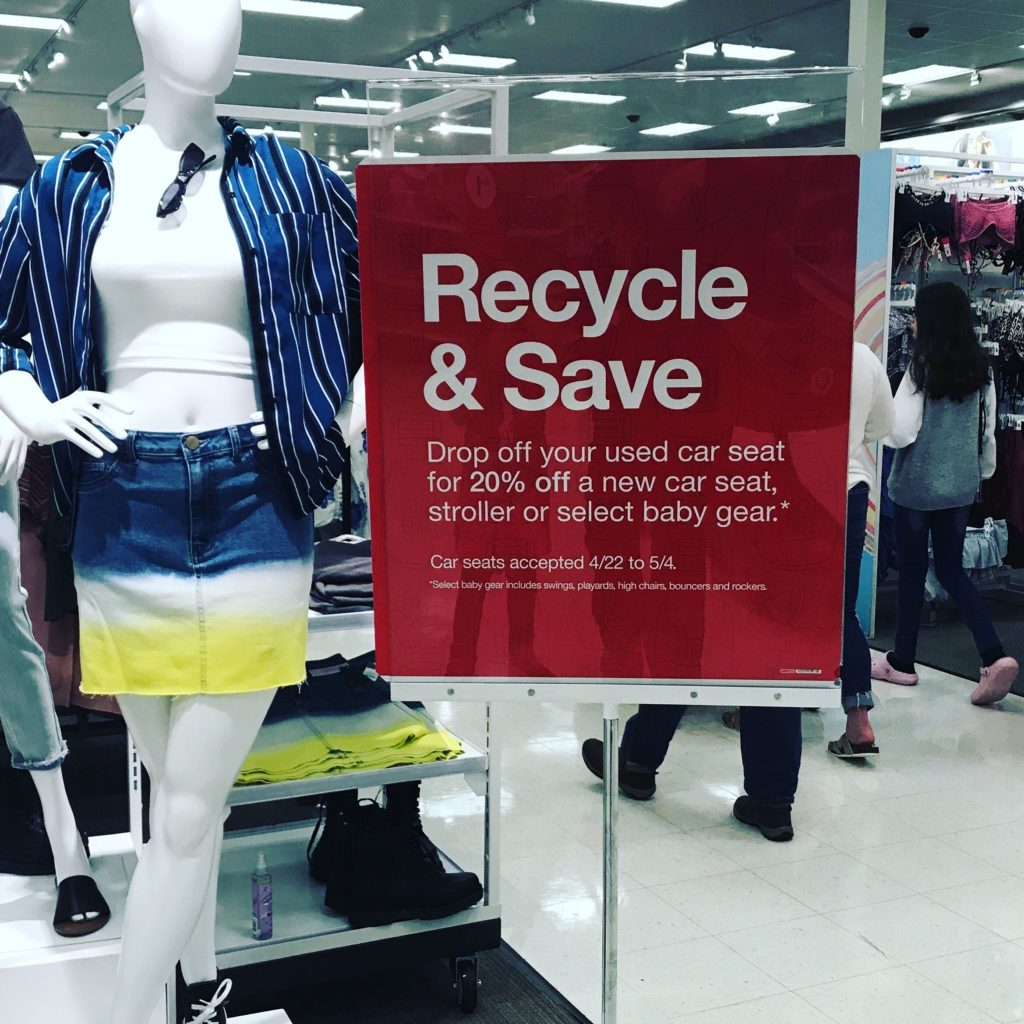 as seen at Champaign Target - Recycle used car seats and get a coupon