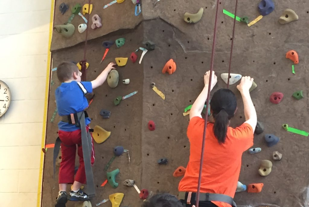Parent child rock climbing at the Stephens Family YMCA in Champaign