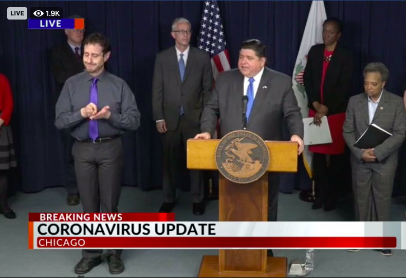 pritzker press conference announcing stay at home order