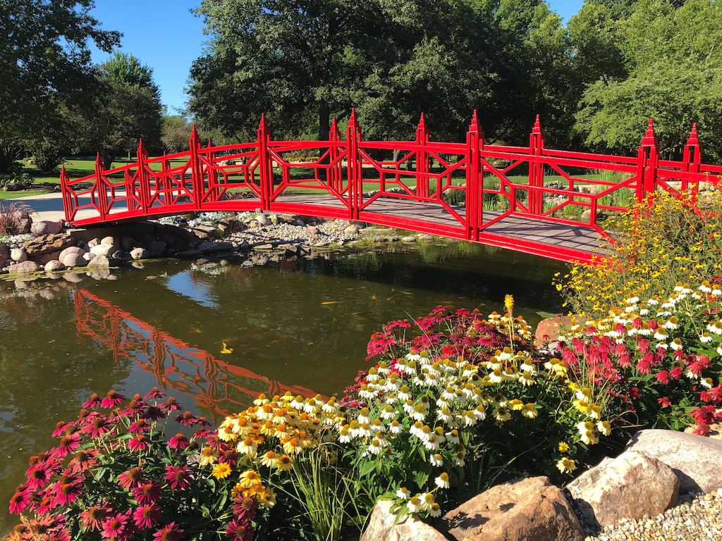 Red bridge at Mabery Gelvin Botanical Garden