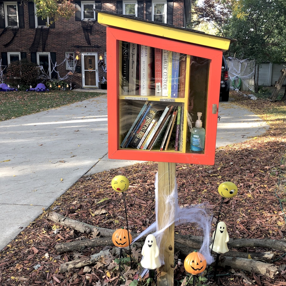 Little Free Library decorated for Halloween