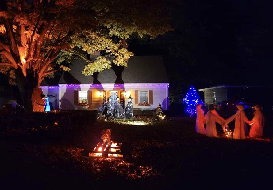 Halloween yard at night