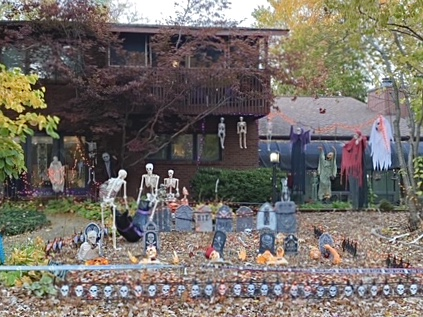 Halloween decor on Trails Drive