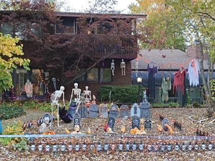 Halloween decor on Trails Drive