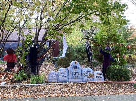 Halloween decorations on Trails Drive