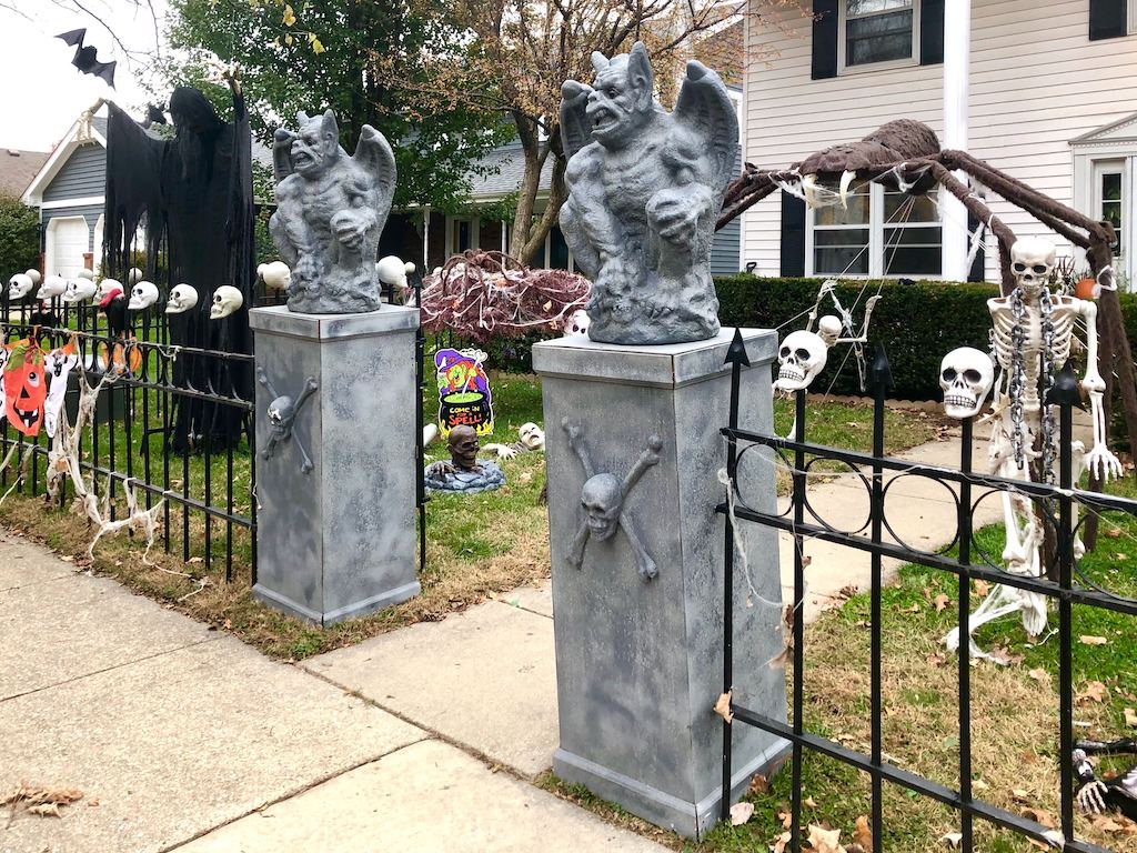 gargoyles and skeletons in Champaign yard