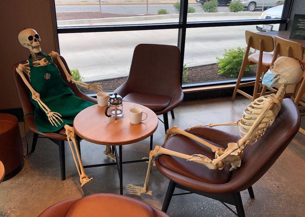 Skeletons at Starbucks