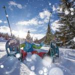 Happy snowshoe walker
