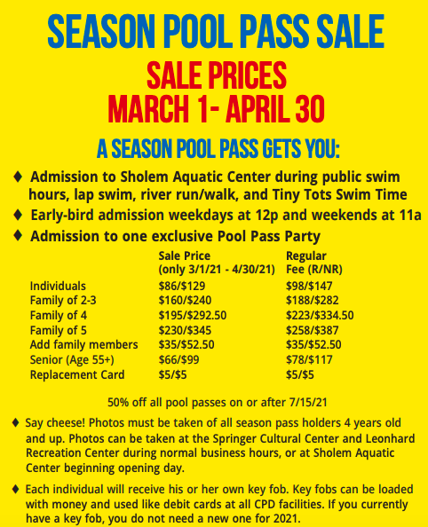 Champaign Park District Sholem Aquatic Center Pool Pass Info 2021