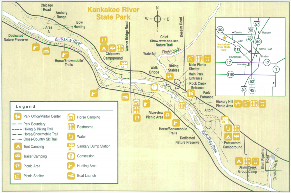 Map of Kankakee River State Park