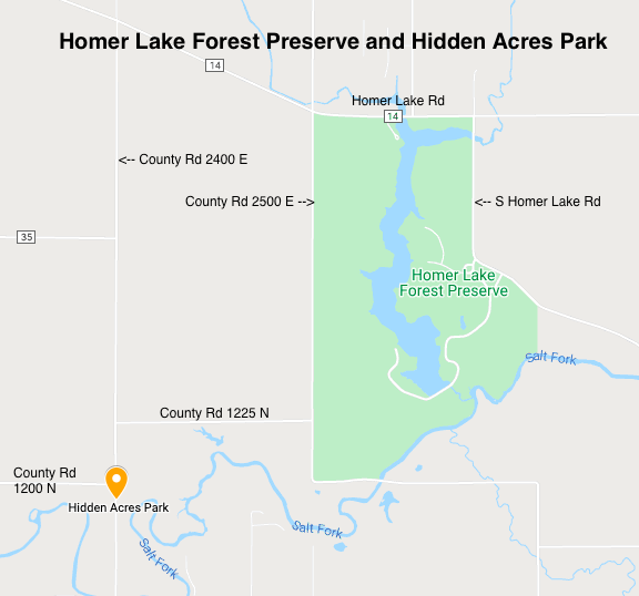 Map of Homer Lake and Hidden Acres