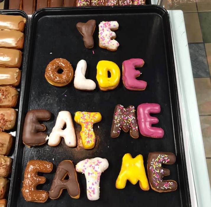 Letter donuts from Ye Olde Donut Shoppe